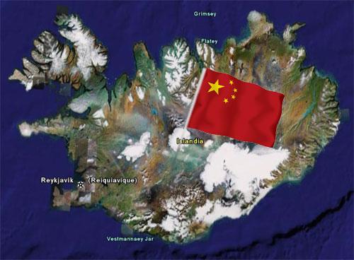 Imagen de la bandera china en Islandia