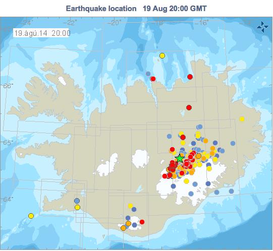 Gráfico con los terremotos de Islandia