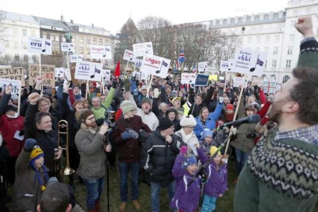 Manifestación en Reykjavík